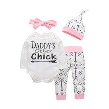 Комплекты из 4 предметов, Одежда для новорожденных и маленьких девочек, костюм для папы и других цыплят+ штаны с сердечками и стрелками+ шапочка+ повязка на голову, наряд для маленьких девочек