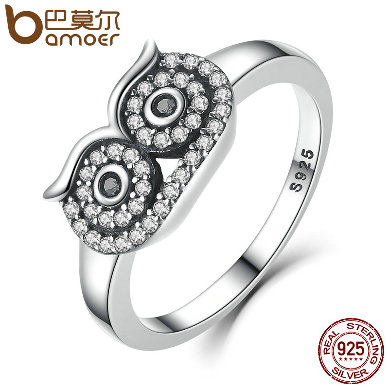 BAMOER Genuine 100% 925 Sterling Silver Clear CZ Cute Owl Stackable Finger Ring for Woman Wedding Engagement Jewelry SCR023