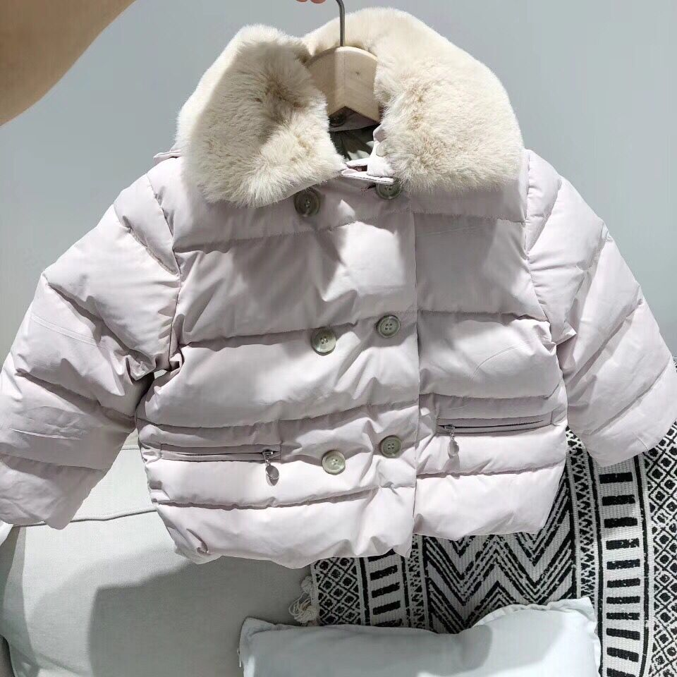 children winter jackets Kids Duck Down Coat with Rabbit fur collar for girls parka Outerwear real fur Hoodies in end of Oct basic editions fall winter brown metallic silk fabric cotton coat with rabbit fur collar with belt covered button 7001d11
