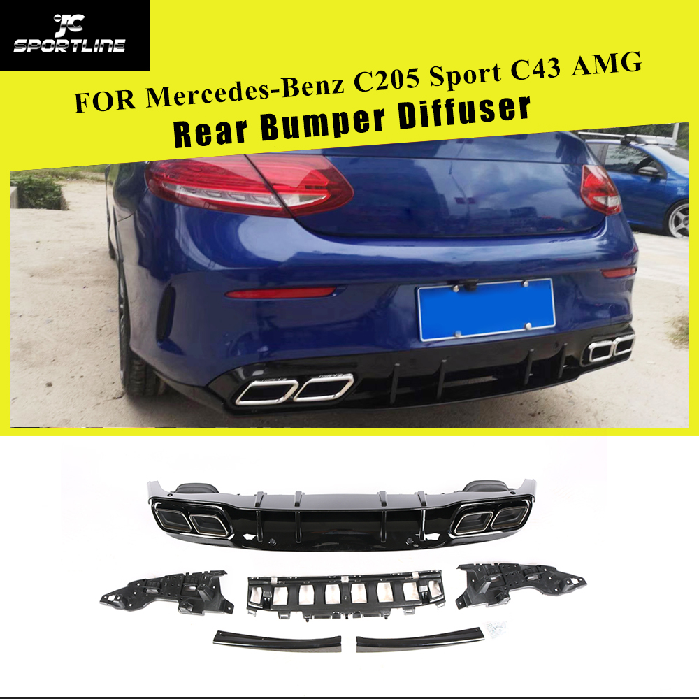 Rear Bumper Lip Diffuser With Exhaust Tips for Mercedes Benz C Class C205 Coupe C200 C250 C300 C350 C400 C43 AMG 2014 2018