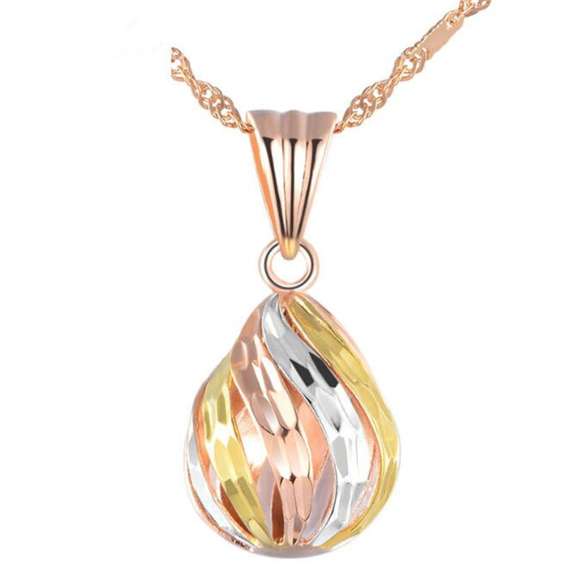 3 Tones Waterdrop Shaped Necklace Pendant Made With 18K Real Gold AU750 8*17mm Hollow Pendant For Women Mother's Day Gift Joyas