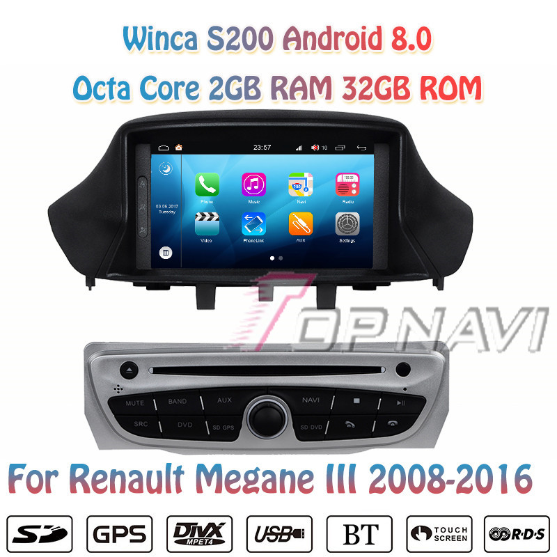 Topnavi Octa Core S200 Android 8.0 Car DVD Multimedia Player for Megane III Audio Radio Stereo Double DIN GPS Navigation