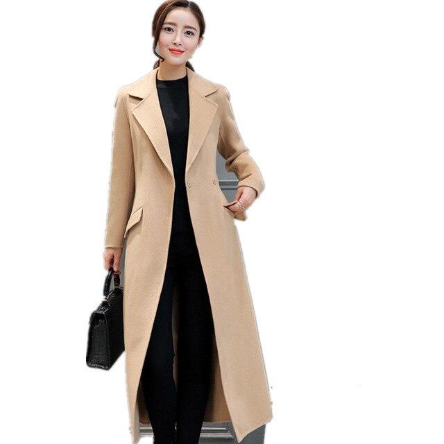 2016Winter Coat Women Wide Lapel Belt Wool Coat Oversize Wine Red Long Trench Coat Casacos Femininos Khaki Thick Cashmere YY171