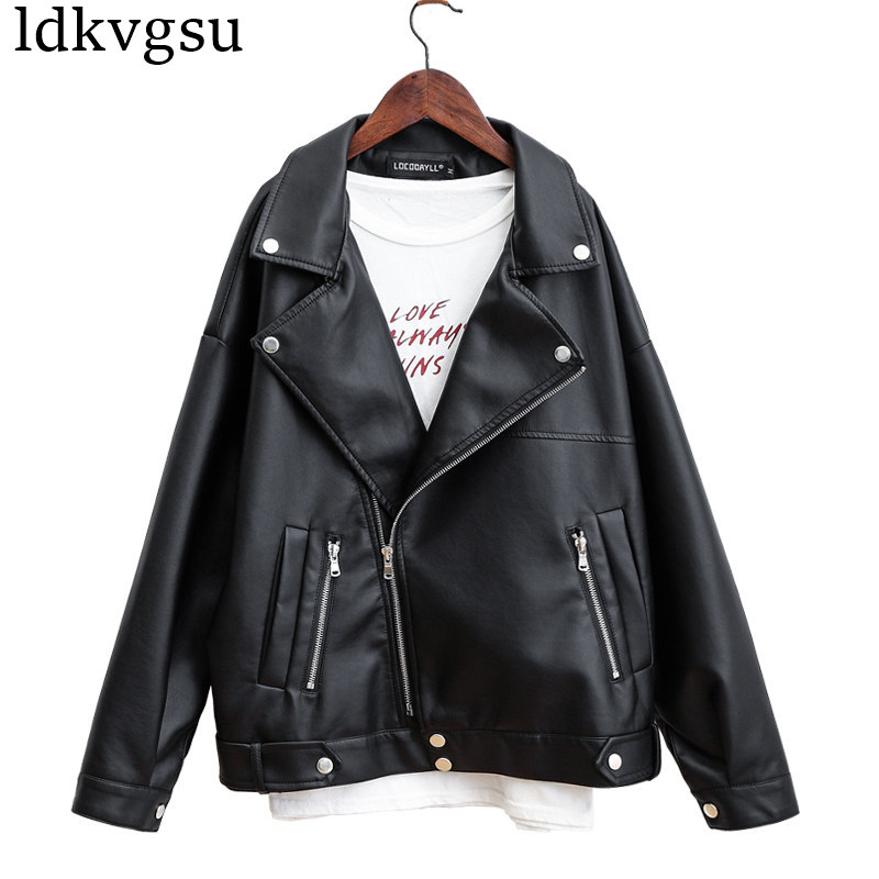 2019 Spring Autumn New Loose Ladies Faux PU   Leather   Korean Motorcycle   Leather   Jacket Coat Women's Casual Large Size Black A1221