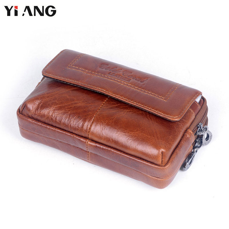 YIANG Fashion Genuine Leather Men's Casual Travel Waist Belt Bag Fanny Pack Molle Mini Money Keys Pouch Mobile Phones Belt Bags