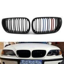 Двойная Передняя решетка радиатора M-Color для BMW E46 4D 02-05 03 04