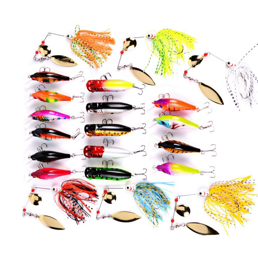 21pcs Fishing Lures Set 21 Colors Minnow Popper Spinner Fishing Bait Mixed Size Tackle Mixed Minnow Lures Popper Lures Leurre super value 101pcs almighty fishing lures kit with mixed hard lures and soft baits minnow lures accessories box
