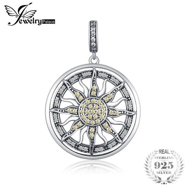 Bijourypalace 925 pendentif en argent Sterling jaune blanc cubique zircone soleil pendentif breloque collier idéal pour bracelet pour les femmes comme cadeaux