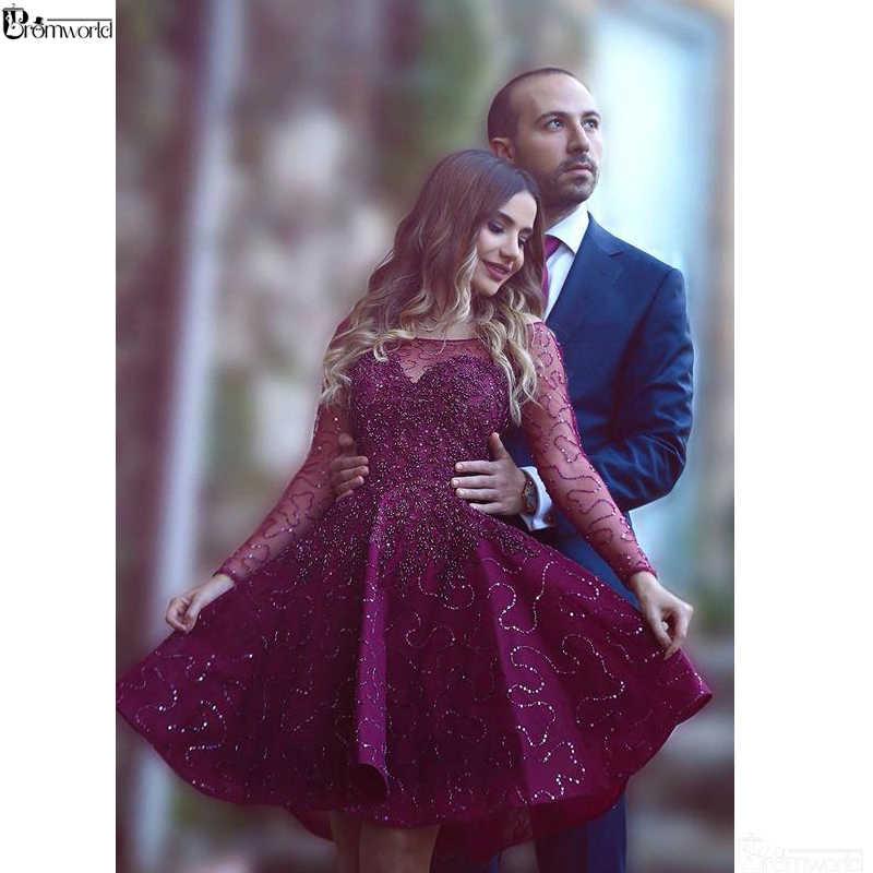 סגול 2019 שיבה הביתה שמלות אונליין ארוך שרוולים קצר מיני פניני פאייטים חרוזים Sparkle סיום אלגנטי קוקטייל שמלות