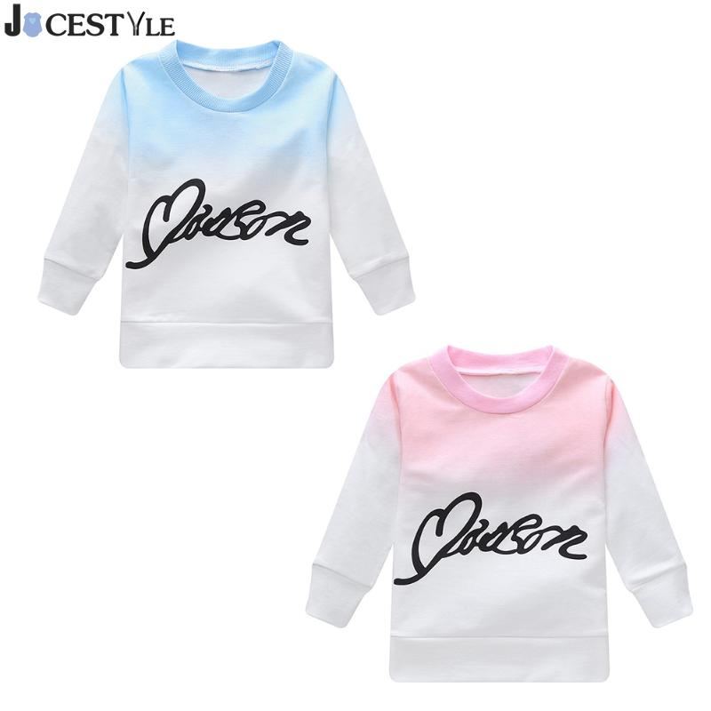 Baby Kids Pullover T-shirt Long Sleeve Cotton Baby Clothes Letters Print Gradient Color T-shirt Tops Girl Boy Spring Top Tee