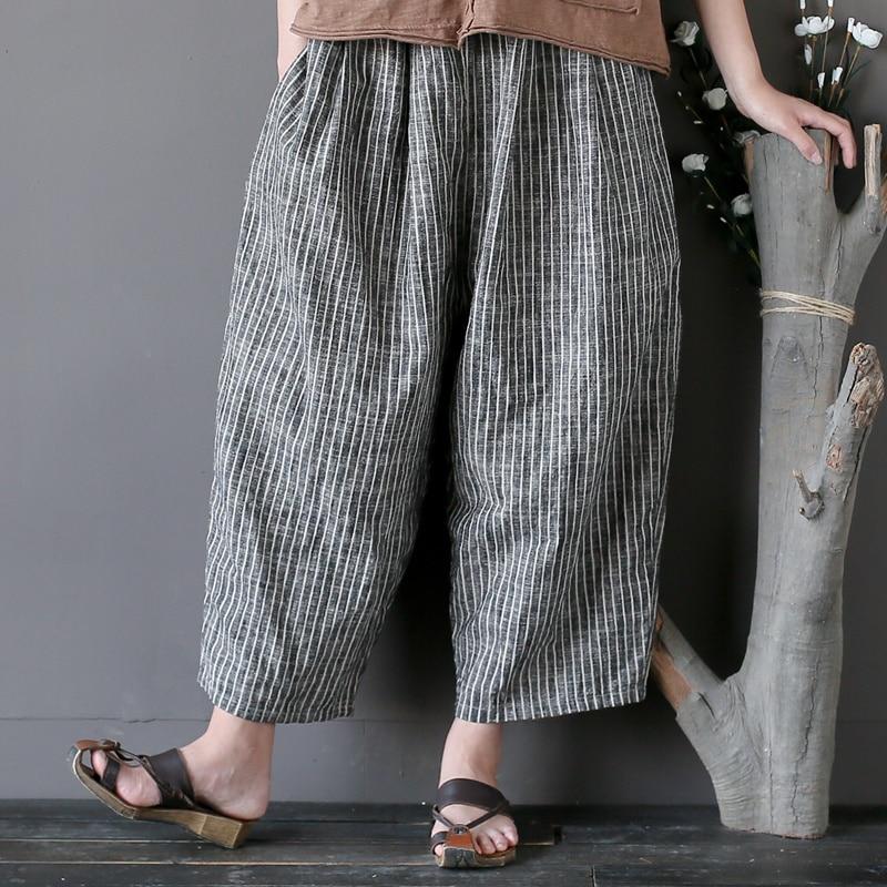 Harem Lâche Tête Pantalon Coton Élastique Occasionnel D'été Wiood Femmes Plus Nouvelle Rayé La 2018 Lin Striped Taille 0qRn4wnp