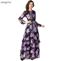 High Quality Spring Summer Street Fashion Vintage Floral Printed Long Dress Women Boho Bohemain Holidays Party