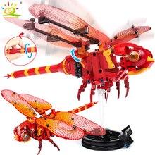 330 шт, поделки, Красная стрекоза, строительные блоки, совместимые с legoingly Technic, животные, город, кирпичи, детские строительные игрушки