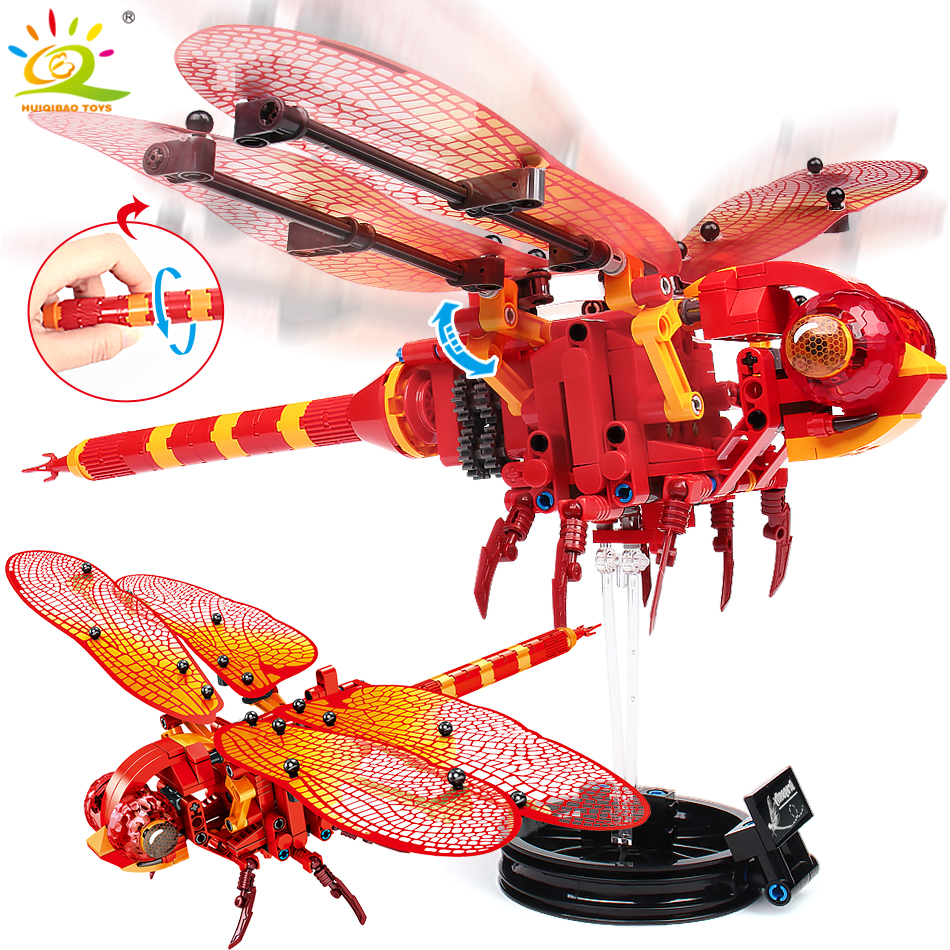 330Pcs Simulated Insect DIY Red Dragonfly Building Blocks Compatible Legoingly Technic Animal City Bricks Kids Construction Toys