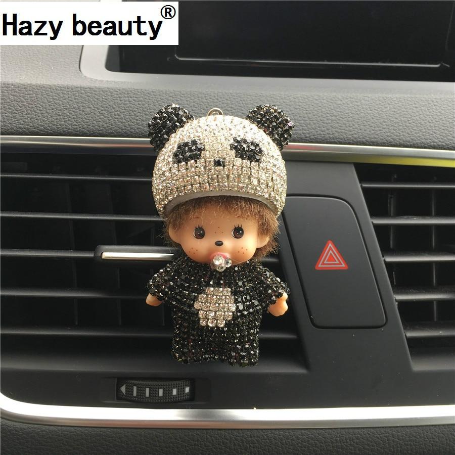 Туманно красоты Panda автомобильных выходе Духи клип алмаз кондиционер рот зажим высококлассные милый автомобиль духи аромат