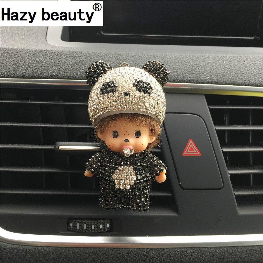 Belleza brumoso Panda Diamante clip de pinza boca de Aire acondicionado Enchufe del perfume del automóvil de Lujo lindo de la fragancia Del perfume Del Coche