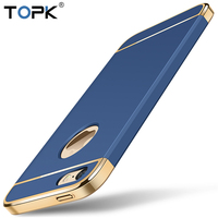 TOPK Luxury Hard Frosted PC Shockproof Plating Metal Texture Skin Protector Phone Case For IPhone 5