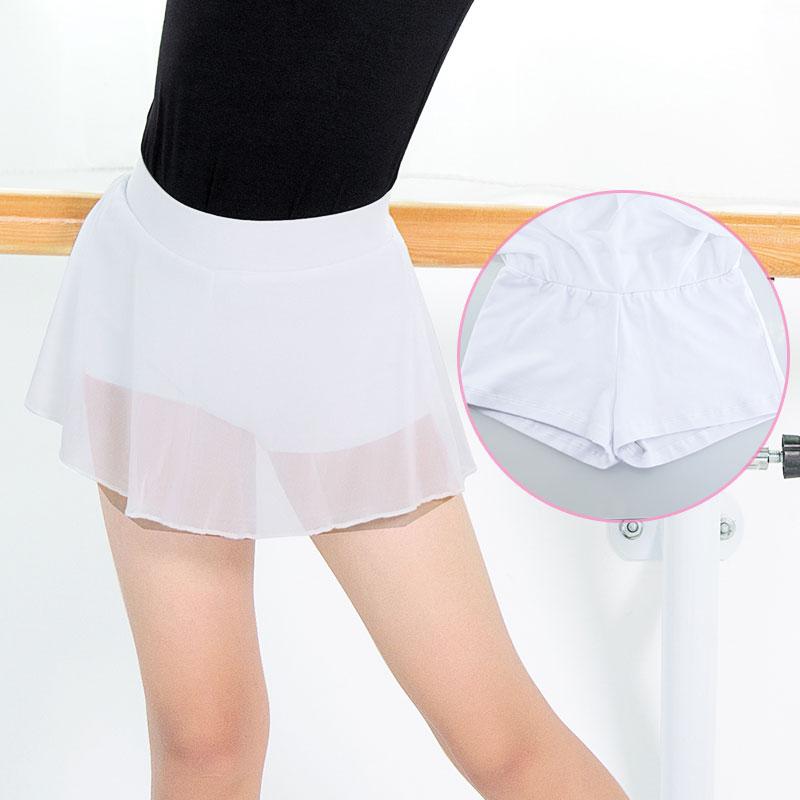 Latin Dance Skirt For Kids Girls Ballroom Latin Costumes Skirt With Shorts Cotton Soft Mesh Short Skirt