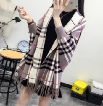 SC2 большой шарф Зимний вязаный пончо женский однотонный дизайнерский плащ женский длинный рукав летучая мышь пальто винтажная шаль - Цвет: Plaid Khaki