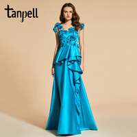 Tanpell flowers prom dresses lake green floor length women beading button formal customed a line reflective dress prom gown