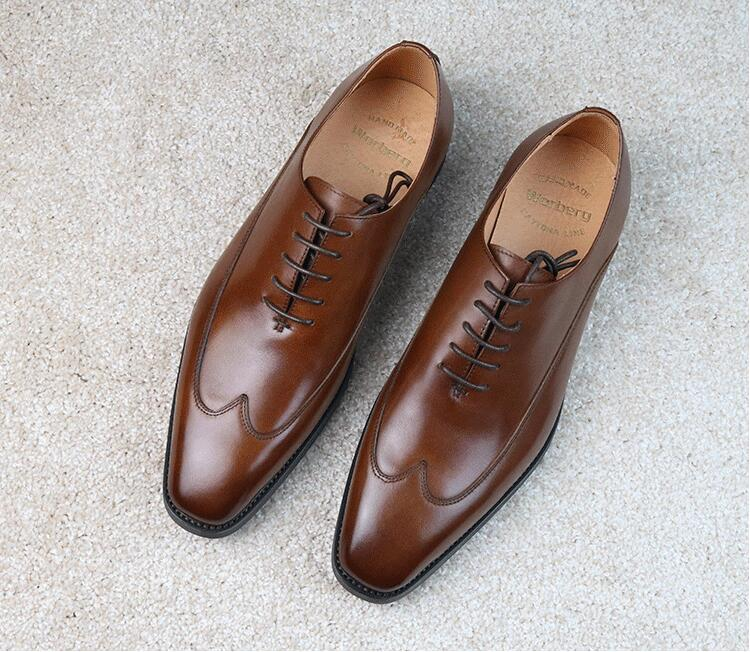 Goodyear Men's Dress Shoes Formal Business Sewing Genuine Leather Square Toes Derby Shoes Italy Handmade Smart Casual Oxfords цена и фото