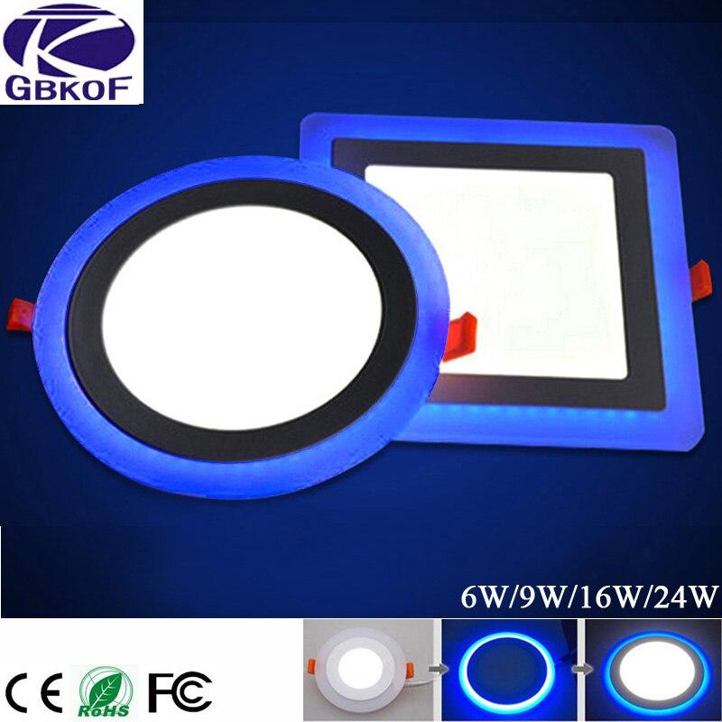 GBKOF 6 Watt 12 Watt 16 Watt 24 Watt Led-deckeneinbauflächenleuchte Painel lampe dekoration runden platz Downlight Led Panel Blau + Weiß 2 farbe