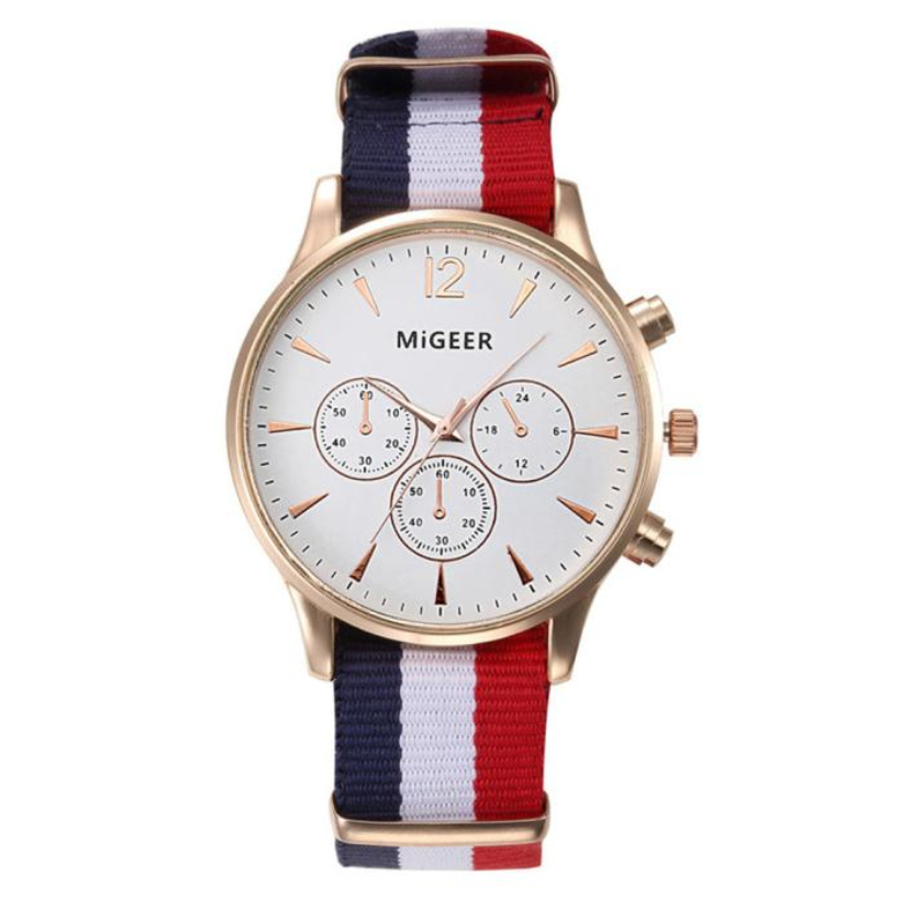 MIGEER Fashion Black & White Strap Quartz Watch Men Casual Male Sport Business Wrist Men's Watches relogio masculino 0000 dropship migeer brand luxury fashion canvas strap watch men quartz watch casual males sport business wrist men watches
