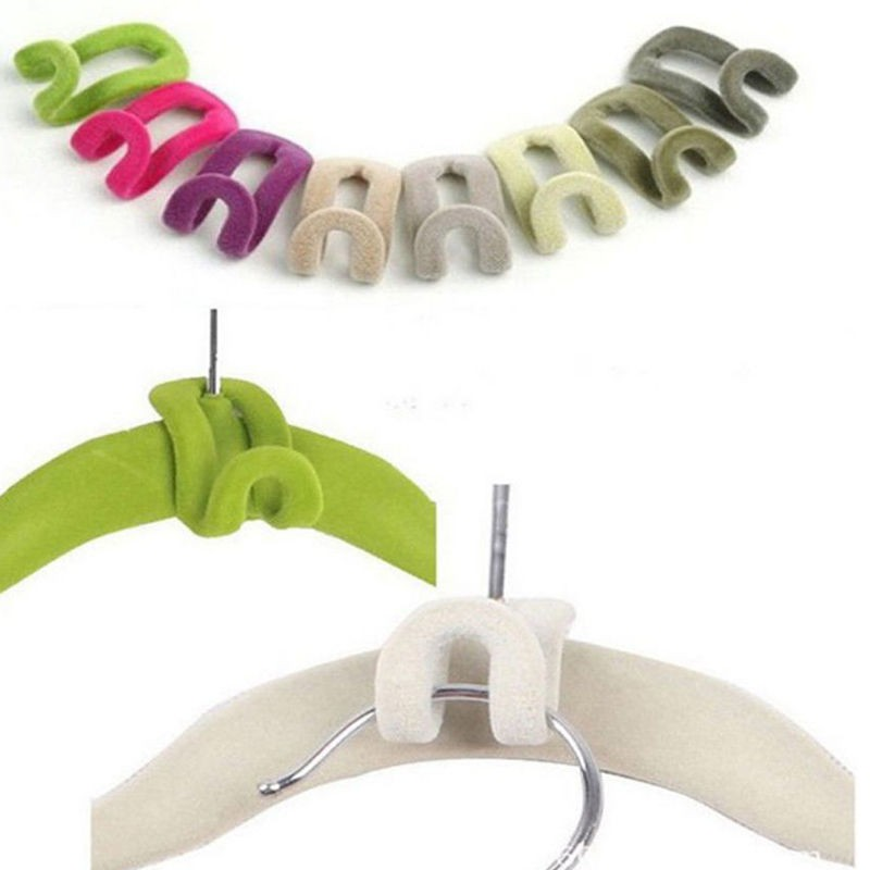 Hook Closet Creative Storage Organizer Clothes Pegs Mini Flocking Clothes Hanger Easy