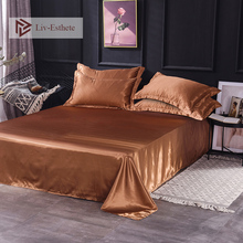 Liv-Esthete 2019 Hot Sale Wholesale Luxury 100% Satin Silk Brown 1PCS Flat Sheet Silky Queen King Bed Sheets For Women Men