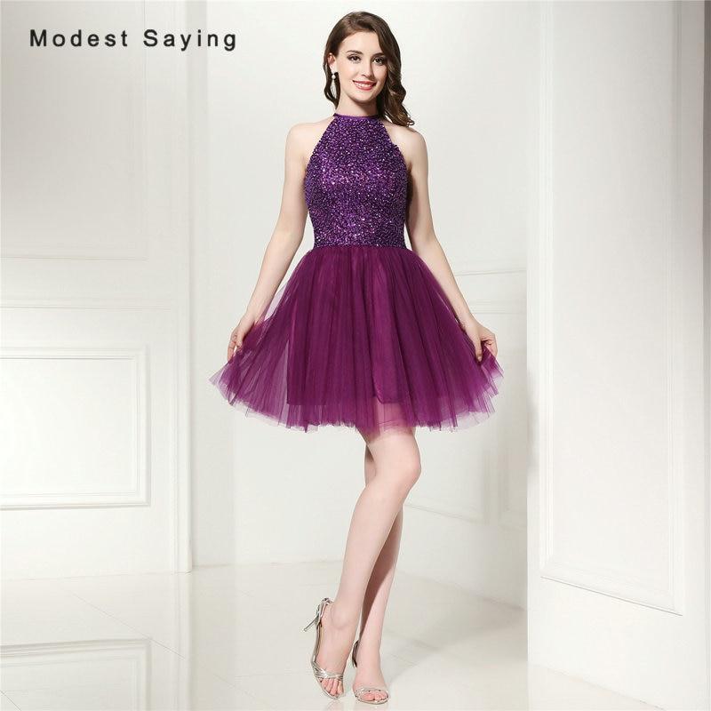 Elegante uva púrpura una línea corta Vestidos de fiesta 2017 con ...