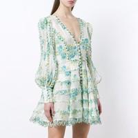 [MENKAY] Printed A Line Dresses Women Long Sleeve V Neck Sexy Mini Dress Female Fashion Elegant Clothes 2018 Summer Autumn