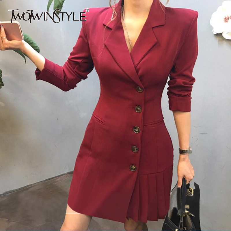 TWOTWINSTYLE Pleated Hem Patchwork Blazer Coat For Women High Waist Long Sleeve Slim Female Suits Spring