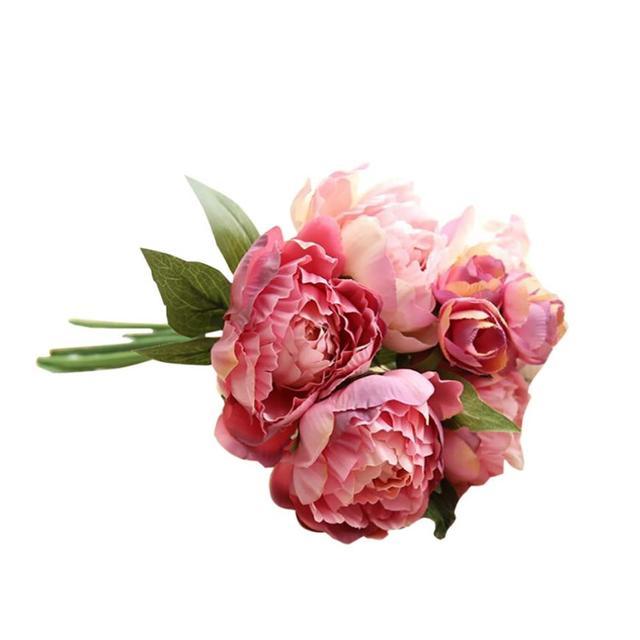 1 Bouquet Buatan Peony Sutra Bunga Palsu Bunga Kain + Bahan Plastik Pernikahan  Buket Pengantin Hydrangea c0b865ff0a