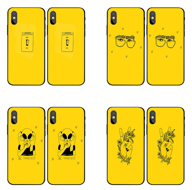 710c721155 Yellow Aesthetic Art Pretty Black soft silicone Case For iPhone X 8 7 6 6S  Plus XR XS MAX For Samsung Galaxy S5 S6 S8 S9 Plus