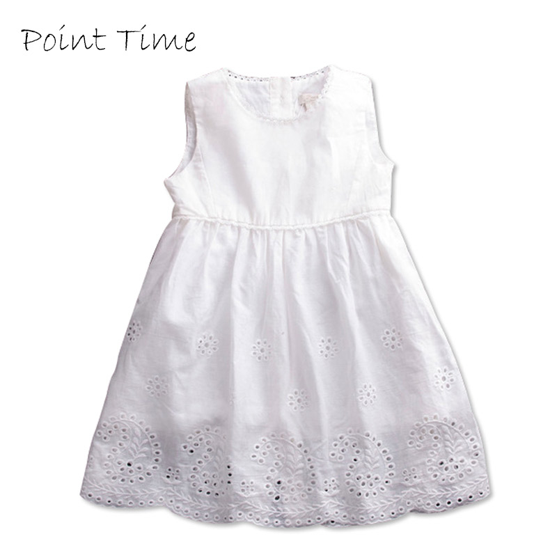 2018 New Fashion Baby Girl Lace Dress Princess Summer Style White Sleeveless Hollow Dress Girls Children Clothes Wholesale 2016 new girls clothes 100% cotton cute pink gray lace dress for the girl princess dress art bowknot sleeveless dress