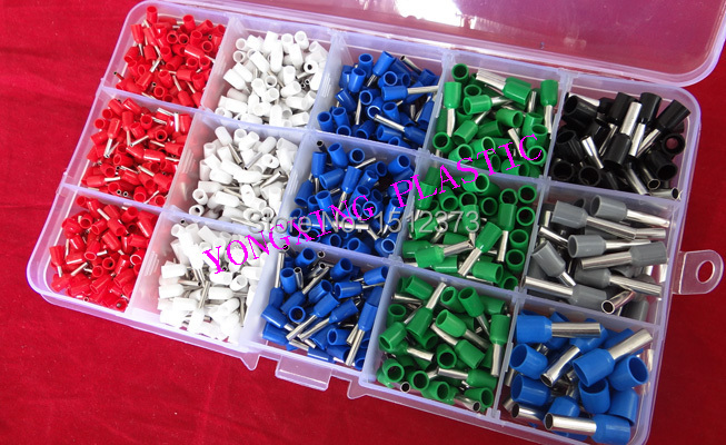 цена на 1155PCS/box 6 size 5 color  insulated cord end terminal block kits suit cable 0.5-6.0mm2