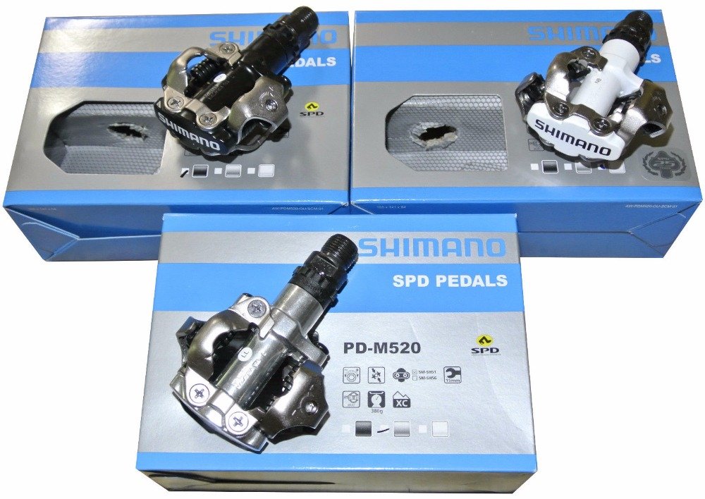 shimano Cycling MTB Mountain Bicycle Bike Parts Chrome-moly & Aluminum Self-Locking Clipless PD-M520 M520 Pedals SPD Cleats shimano pd m545 spd bicycle cycling pedal mtb mountain xc clipless bike incl sm sh51 cleats mountain bike pedals