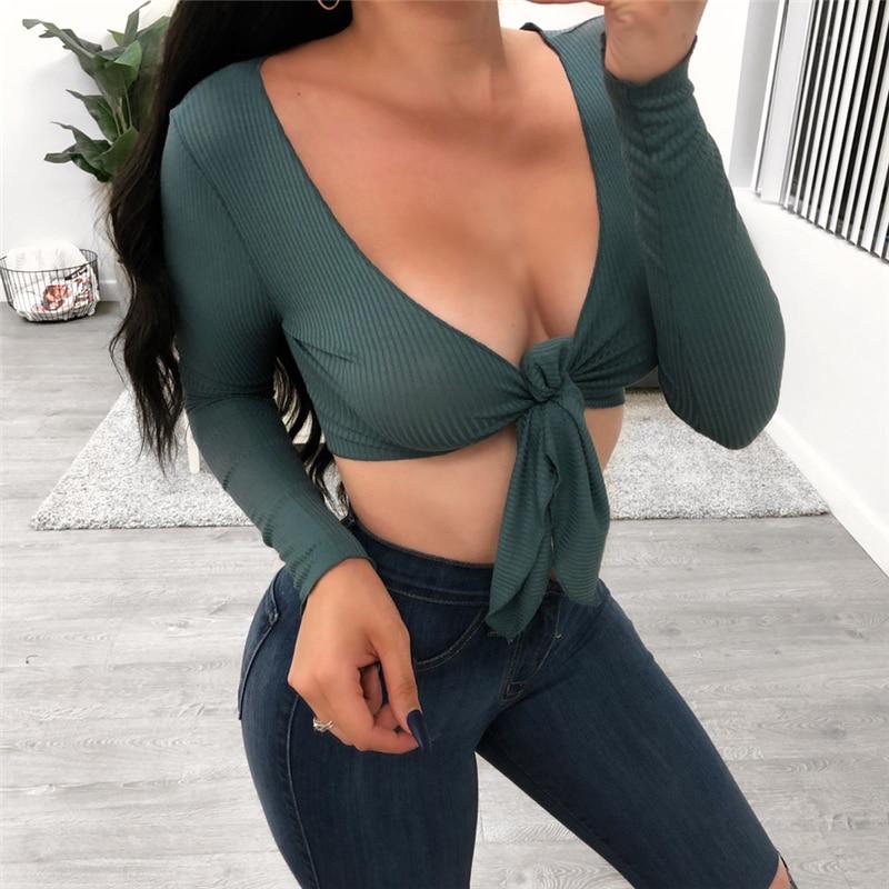 Long T-Shirt V Neck Crop Bandage Bodycon Casual Tank Sleeve Blouse Women Top