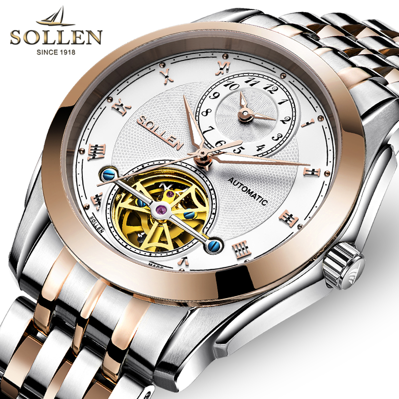 SOLLEN Skeleton Tourbillon Mechanical Watch Men Fashion Rose Gold Full Steel Automatic Self-Wind Wrist Watches Reloj Hombre 2017 men luxury brand casual gold full steel band skeleton automatic self wind mechanical hand wind goden relogio for man wrist watch