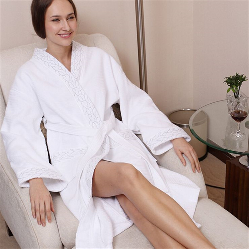 Bridal Robe Peignoir Women s Solid Color Full Sleeve Waffle Cotton Sleep Lounge Robes Accappatoio Silk