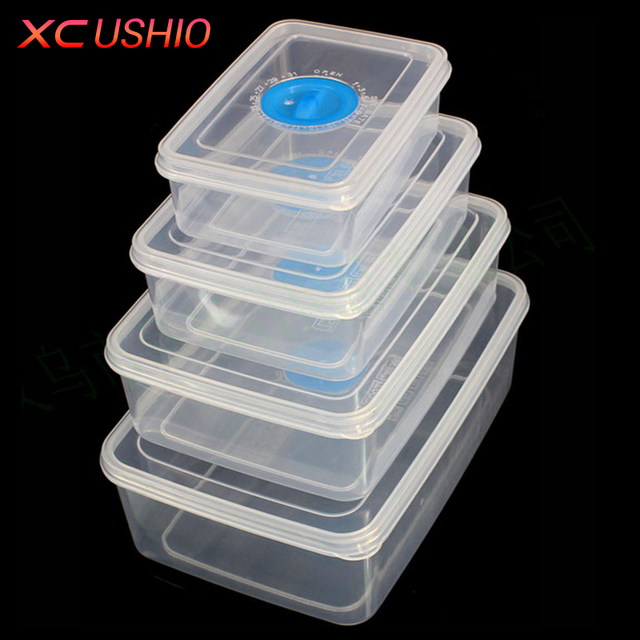 Kitchen Plastic Microwave Food Box Set Transpa Container Refrigerator Fresh Keeping Storage Portable Lunch