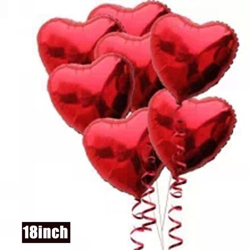 NºHaochu 50 unids/lote 18 corazón rojo hoja Globos suministros globo ...