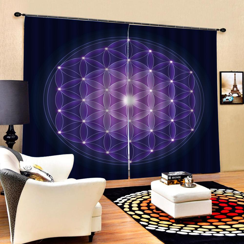 personality curtains purple blue Curtain office Bedroom 3D Window Curtain Luxury living room decorate Cortina Drapes in Curtains from Home Garden
