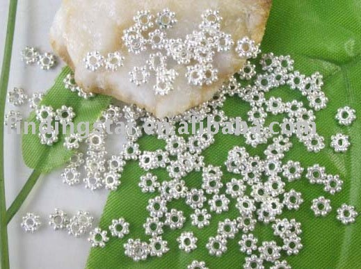 FREE SHIPPING 1000 pcs Silver plated Daisy spacer beads 4mm M308SP