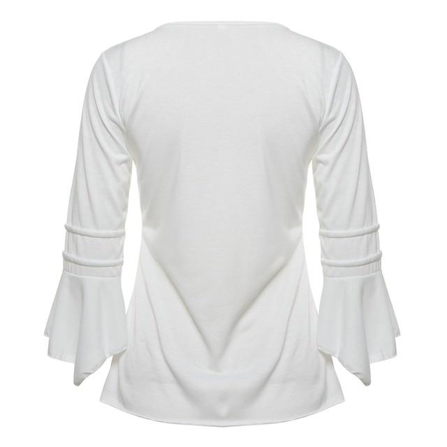 Korea Style Women Blouse Shirts 2017 Elegant Ruffles Women Tops Plus Size Flare Sleeve Solid Casual Loose Shirt blusas feminina 5