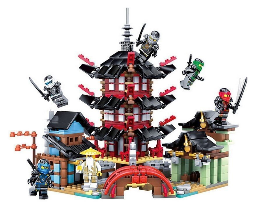 Ninja Temple of Airjitzu Ninjagoes Smaller Version Bozhi 737 pcs Blocks Set Compatible with legoe Toys for Kids Building Bricks 4pc set ninjagoes dragon knight building blocks kids hot toys ninja bricks mini action figures enlighten toy for children friend