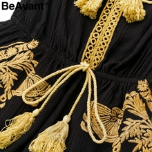 BeAvant Ethnic embroidery black jumpsuit rompers Women v neck tassel boho playsuit Summer beach casual overalls macacao 2018 new