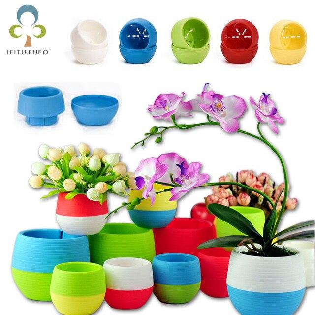 5 pz Giardinaggio Mini Vasi Di Fiori di Plastica Vaso di Fiore Rotondo Bonsai Fi