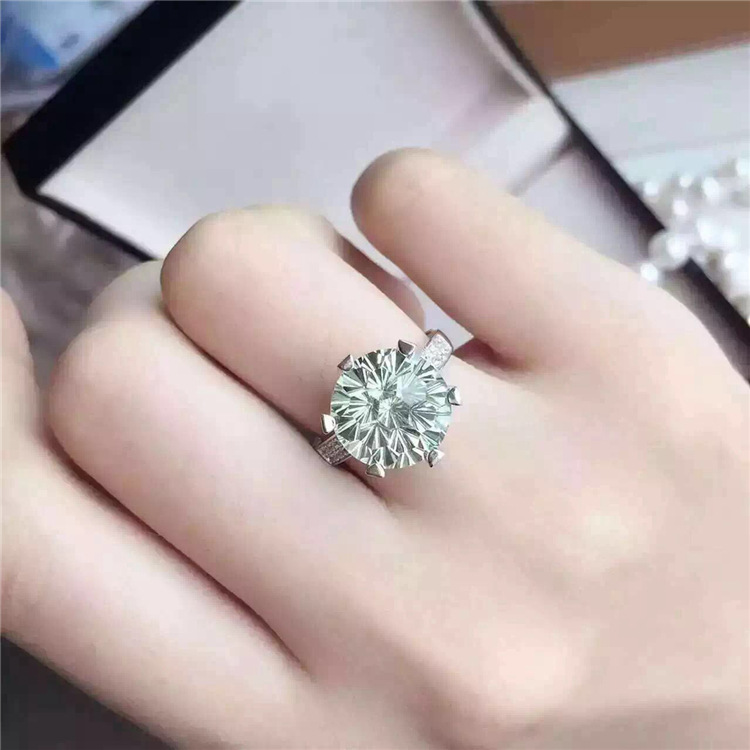 925 silver pure natural green t Ring shine ladies wind retro temperament Zircon Ring