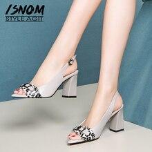 ISNOM Cow Leather Leopard Sandals Women High Heels Summer Sandals
